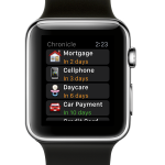 Chronicle for Apple Watch shows all your bills, organized by due date.