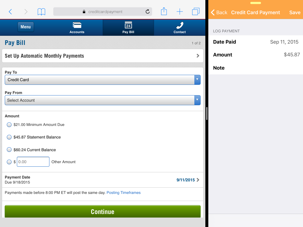 Multitasking on iPad makes it easy to pay bills and log them in Chronicle.